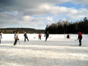 POND HOCKEYWhere a section of the lake is cleared to play hockey.